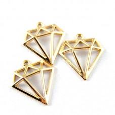 5 Breloques Diamant Doré 14x16mm pour la Création de Bijoux Fantaisie - DIY