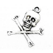 6 Breloques Tête de Mort Argentée 24x20mm pour la Création de Bijoux Fantaisie - DIY