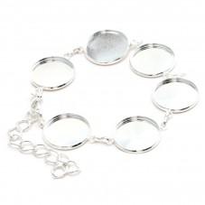 Support Bracelet  Argenté Ajustable pour Cabochon 20mm pour la Création de Bijoux Fantaisie - DIY