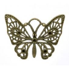 Grande Breloque Papillon Bronze à Strasser 48x38mm pour la Création de Bijoux Fantaisie - DIY