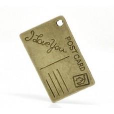 """4 Breloques Carte Postale """"I Love You"""" Bronze 26x16mm pour la Création de Bijoux Fantaisie - DIY"""
