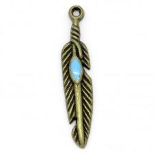 6 Breloques Plume Bronze Émail Bleu 27x5mm pour la Création de Bijoux Fantaisie - DIY