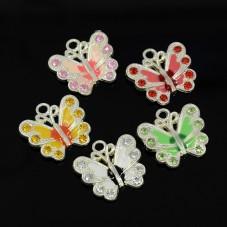 10 Breloques Papillon à Strasser en Métal Emaillé pour la Création de Bijoux Fantaisie - DIY