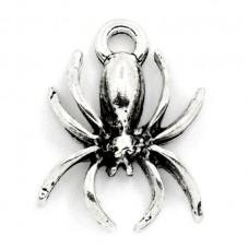 10 Breloques Araignée Argentée Gothique 18x14mm pour la Création de Bijoux Fantaisie - DIY