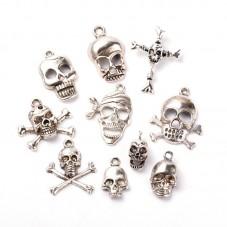 10 Breloques Tête de Mort Pirate Argenté pour la Création de Bijoux Fantaisie - DIY