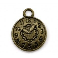 10 Breloques Mini Horloge Bronze Thème Alice au Pays des Merveilles 10mm pour la Création de Bijoux Fantaisie - DIY