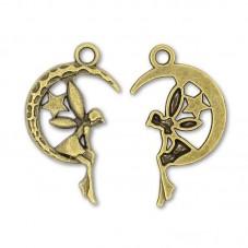 4 Breloques Fée Lune Bronze 25,5x15mm pour la Création de Bijoux Fantaisie - DIY