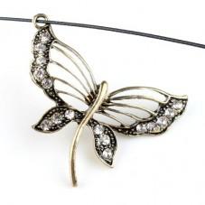 Grande Breloque Papillon Strass Bronze 37x49mm pour la Création de Bijoux Fantaisie - DIY