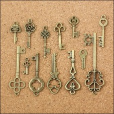 5 Breloques Clés Vintage Bronze Thème Alice au Pays des Merveilles 20-57mm
