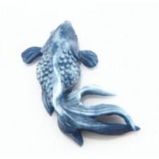 Cabochon en Relief Poisson Bleu en Résine 24mm