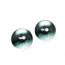 2 Cabochons en Verre Illustrés Oeil Yeux Noir Gris 12mm pour la Création de Bijoux Fantaisie - DIY