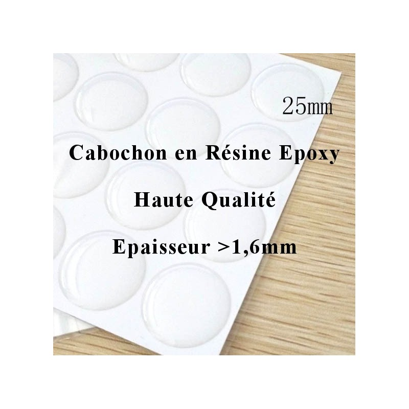 20 Cabochons Autocollant Stickers Époxy Haute Qualité 25mm