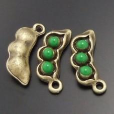 2 Breloques Petit Pois Vintage Bronze 15x5mm pour la Création de Bijoux Fantaisie - DIY