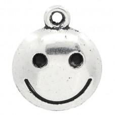 5 Breloques Smile Argenté 17x14mm pour la Création de Bijoux Fantaisie - DIY