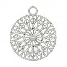 2 Breloques Rondes Style Mandala Filigrane Ajouré en Acier Inoxydable 22x18mm pour la Création de Bijoux Fantaisie - DIY