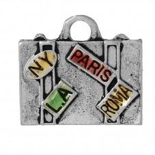 2 Breloques Valise Voyage Email 17x15mm pour la Création de Bijoux Fantaisie - DIY