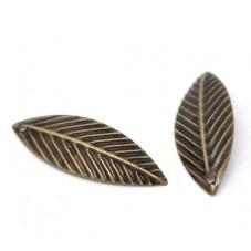 10 Breloques Feuille Bronze 21x7mm pour la Création de Bijoux Fantaisie - DIY