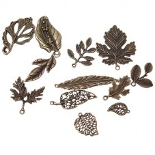24 Breloques Formes Feuilles Bronze pour la Création de Bijoux Fantaisie - DIY