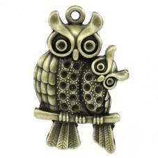 Breloque Hiboux Bronze à Strasser 4.3x2.8cm pour la Création de Bijoux Fantaisie - DIY