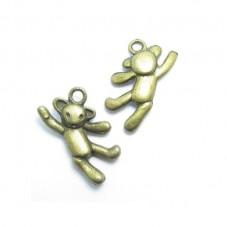 4 Breloques Nounours Bronze 20mm pour la Création de Bijoux Fantaisie - DIY