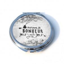 """Miroir de Poche Rond en Métal 6.2cm """"Écrivons le bonheur..."""""""