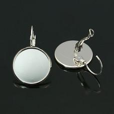 1 Paire de Support Boucle d'Oreille Dormeuse Platine pour Cabochon 16mm pour la Création de Bijoux Fantaisie - DIY
