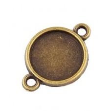 4 Supports Connecteur Bronze pour Cabochon 12mm