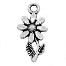 6 Breloques Fleur 19x10mm Argenté 13x10mm pour la Création de Bijoux Fantaisie - DIY