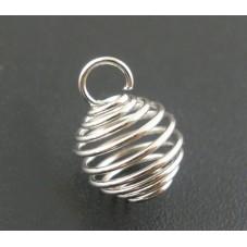 5 Breloques Cage Spirale Argentée 8x9mm pour la Création de Bijoux Fantaisie - DIY