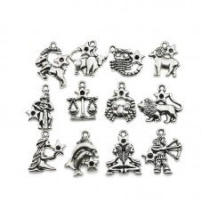 12 Breloques Signe du Zodiaque Argenté à Strasser 10-35mm pour la Création de Bijoux Fantaisie - DIY