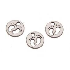 5 Breloques Pied Rond Argenté Médaille 11x11mm pour la Création de Bijoux Fantaisie - DIY