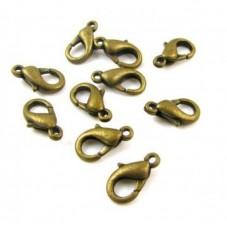 10 Fermoirs Mousquetons Bronze 10mm pour la Création de Bijoux Fantaisie - DIY