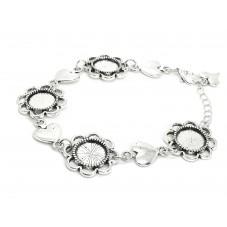 Support Bracelet Argenté pour Cabochon 12mm