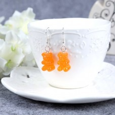 Boucles d'Oreilles Nounours 17mm Orange