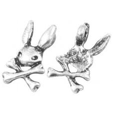 6 Breloques Lapin Tête de Mort Argenté 15.5mm pour la Création de Bijoux Fantaisie - DIY
