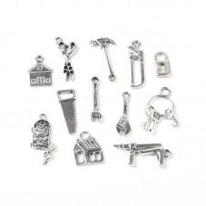12 Breloques Thème Bricolage Outils Argenté pour la Création de Bijoux Fantaisie - DIY
