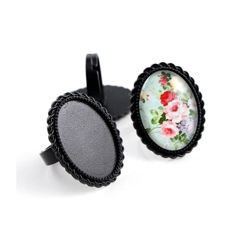 Support Bague Ajustable Noir pour Cabochon 18x25mm