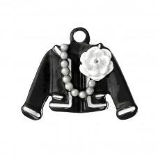 2 Breloques Veste Noir et Blanc Emaillé pour la Création de Bijoux Fantaisie - DIY