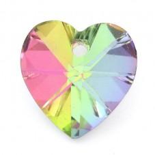 2 Breloques Coeur à Facette en Verre Rose/Vert 14mm pour la Création de Bijoux Fantaisie - DIY