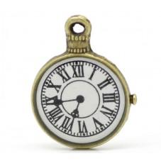 2 Breloques Horloge Montre Ancienne Bronze Thème Alice au Pays des Merveilles 23x18mm pour la Création de Bijoux Fantaisie - DIY