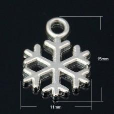 10 Breloques Mini Flocon de Neige Argenté 15x12mm pour la Création de Bijoux Fantaisie - DIY
