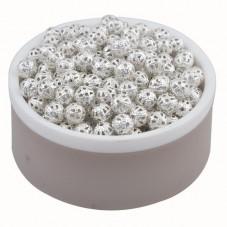10 Perles Creuses Ajourées Filigrane Argentées 6mm pour la Création de Bijoux Fantaisie - DIY