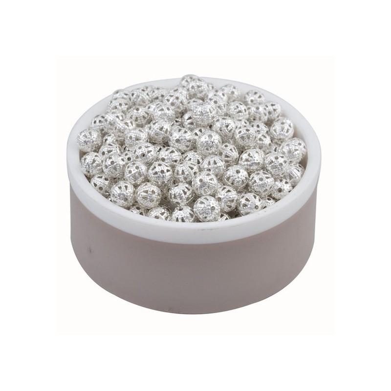 10 Perles Creuses Ajourées Filigrane Argentées 6mm