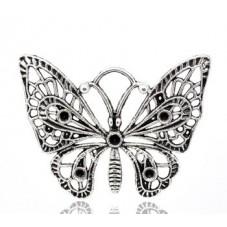Grande Breloque Papillon Argenté à Strasser 48x38mm pour la Création de Bijoux Fantaisie - DIY