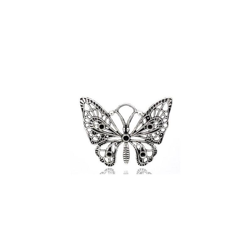 Grande Breloque Papillon Argenté à Strasser 48x38mm