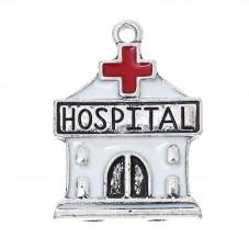 2 Breloques Hôpital Médical Docteur Emaillé 27x20mm pour la Création de Bijoux Fantaisie - DIY