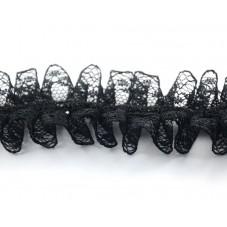1 Mètre de Ruban Dentelle Noir avec Strass Style Gothique 35mm