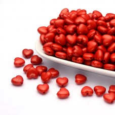 10 Perles Coeur Rouge en Acrylique 11x10mm