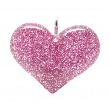 2 Breloques Coeur Rose Pailleté en Résine 24x18mm pour la Création de Bijoux Fantaisie - DIY