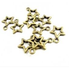 10 Breloques Étoile Bronze 12x10mm pour la Création de Bijoux Fantaisie - DIY